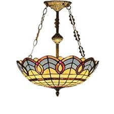 baroque pattern 16 inch chandeier pendant lighting in tiffany stained glass style