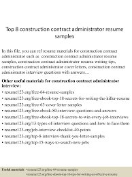 Sample Construction Contract Top 8 Construction Contract Administrator Resume Samples