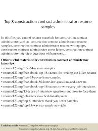 Construction Contract Administrator Resume Sample Top224constructioncontractadministratorresumesamples224lva224app62249224thumbnail24jpgcb=224243252072224 2