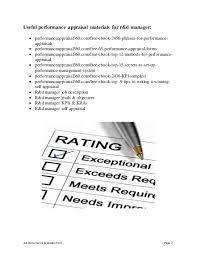 Appraisal Sheet Custom Rd Manager Performance Appraisal