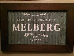 corrugated metal signs painted family sign on