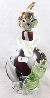 hand blown murano glass 9 5 h decanter clown with banjo inside only dmg on stopper