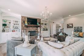 chic living room. Large Shabby-Chic Living Room With Built-in Shelving, Brick Accent Wall, A Wall-mounted TV And Fireplace.Photo By Styling Spaces Home Staging \u0026 Re-Design Chic