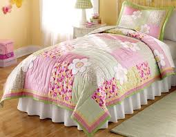 Floral Pink and Green Bedding 2pc Twin Quilt Set Kids Little Girls ... & Floral Pink and Green Bedding 2pc Twin Quilt Set Kids Little Girls  Bedspread - Julie Adamdwight.com