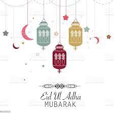 Islamischen Opferfest Eidaladha Feier Grußkarte Eid Al Adha Mubarak Plakat  Hängende Laterne Stock Vektor Art und mehr Bilder von Arabische Kultur -  iStock