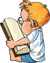 cartoon little boy reading a big book clipart