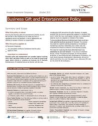 nuveen investments pliance october 2016 business gift and entertainment policy summary and scope what this policy is about