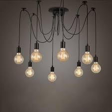 retro edison bulb light chandelier vintage loft adjustable diy e27 spider ceiling lamp cafe living room bar fixture light pendant lighting kitchen clear