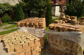acacia wood slices rustic garden path 1