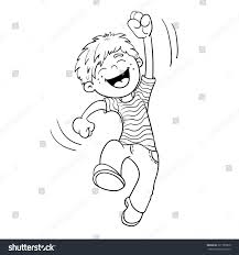 Coloring Page Outline Cartoon Jumping Boy Stock Vector 321789500