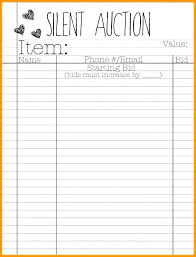 Silent Auction Bid Sheet Template Word Bid Sheet Templates Examples Of Silent Auction Sheets Sample