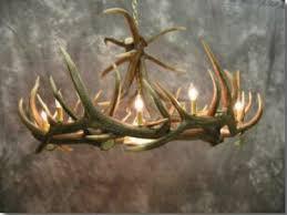 elk 9 cast antler chandelier w downlight