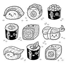 Modello Senza Cuciture Del Sashimi E Dei Sushi Nello Stile Di Kawaii