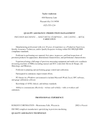 Quality Assurance Inspectorume Sample Aviation Control Food