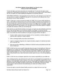 Bill Of Sale Form New Mexico Advance Health Care Directive Form ...