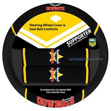 nrl north queensland cowboys car steering wheel seat belt cover set