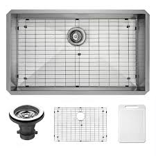 single bowl kitchen sink with grid and strainer in stainless steel