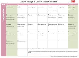 printable daily calendars september daily holidays observances printable calendar