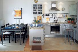 contemporary kitchen design for small spaces. contemporary kitchen with peninsula, modern design ideas, white cabinets and dark wood furniture for dining room small spaces a