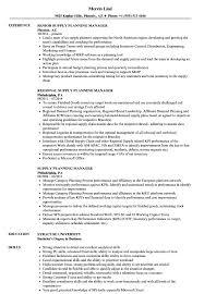 Supply Planning Manager Resume Samples Velvet Jobs