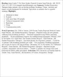 Respiratory Therapist Student Resume Student Respiratory Therapist Resume Template Best Design Tips