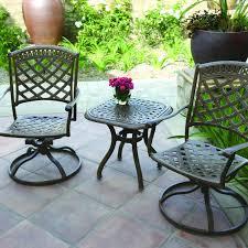 darlee sedona 3 piece cast aluminum patio bistro set with swivel rockers mocha