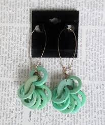 vintage 80 s big apple green rings hoop dangle new wave glam earrings