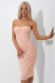 Salma Peach Strappy Lace Bodycon Dress The Fashion Bible From