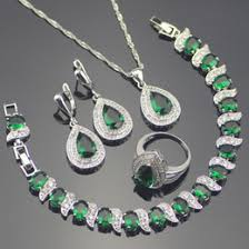 zircon jewellery sets ping whole green zircon costume silver jewelry sets wedding women earrings