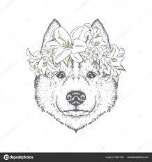 花かざりのかわいい犬かわいい子犬ベクトル イラストはがきや