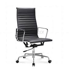 the eames office. Eames Office Chair High Back Ribbed Black Leather - Reproduction The