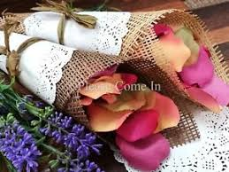 How To Make Paper Cones For Flower Petals 50 Wedding Confetti Cone With Paper Burlap Doily Diy Set Ebay