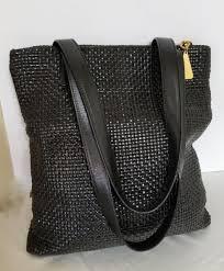 black basket woven leather tote americana by sharif zipper closure shoulder bag