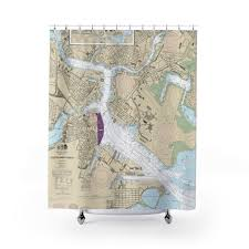 Boston Harbor Chart Boston Harbor Inner Nautical Chart Shower Curtain Chart Mugs