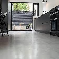 micro concrete kitchen installation poured resin and concrete flooring