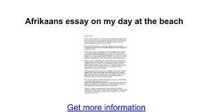 afrikaans essay on my day at the beach google docs