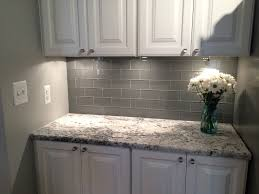 Grey Glass Subway Tile Backsplash And White Cabinet For Clear Glass