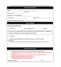 Personal Time Off Request Form Sample Time Off Request Form 23 Download Free Documents In Pdf Word