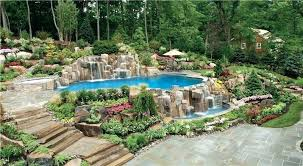 inground pools with waterfalls. Inground Pool With Waterfall Backyard And Landscape Swimming Waterfalls Design Pools