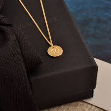 double sided solid gold disc initial necklace