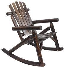 log rocking chair burnt