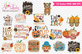 Fall Sublimation Designs Fall Bundle Of 18 Watercolor Sublimation Designs
