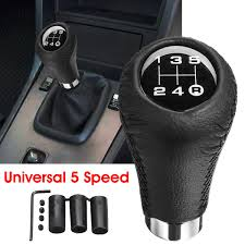 universal 5 sd car leather shift knob manual gear stick shift shifter lever