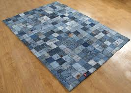 recycled denim patch work rug