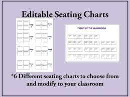 Seating Chart 6 Versions Completely Editable