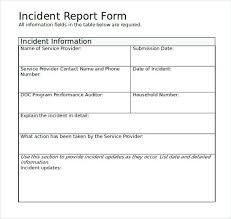 Simple Incident Report Form Example Templates Soulective Co