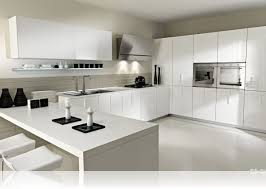 White Modern Kitchen Ideas With Chairs And Cabinet