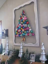 Super cute idea and would be adorable with vintage ornaments Christmas tree  made out of ornaments