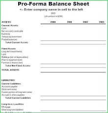 Balance Sheet Projections Pro Forma Projections Template