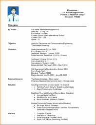 A Curriculum Vitae For Students Format College High School Student